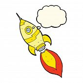 image of spaceships  - cartoon spaceship with thought bubble - JPG