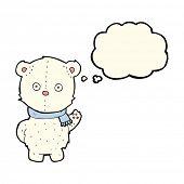 stock photo of bear cub  - cartoon waving polar bear cub with thought bubble - JPG