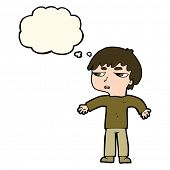 stock photo of annoyance  - cartoon annoyed boy with thought bubble - JPG