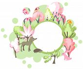 picture of hare  - Festive banner with spring forest landscape and wild animals  - JPG