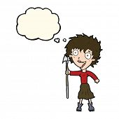 picture of spears  - cartoon crazy woman with spear with thought bubble - JPG