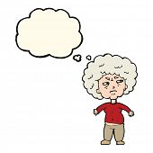 image of annoyance  - cartoon annoyed old woman with thought bubble - JPG