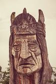 foto of totem pole  - statue of an indian head totem - JPG