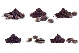 image of coffee grounds  - Collection of Roast and ground coffee coffee beans - JPG
