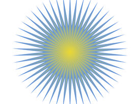 picture of sun rays  - blue and yellow sun with yellow center and blue radiant beams - JPG