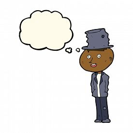 pic of hobo  - cartoon funny hobo man with thought bubble - JPG