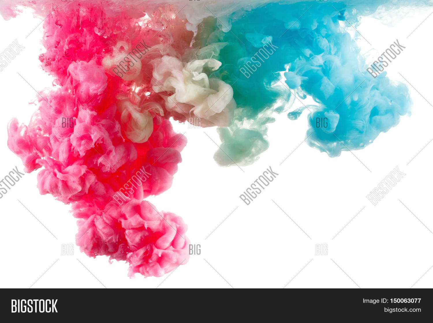Color Ink in water, photographed in motion. Swirling paint drop watercolor. Cloud isolated on ...