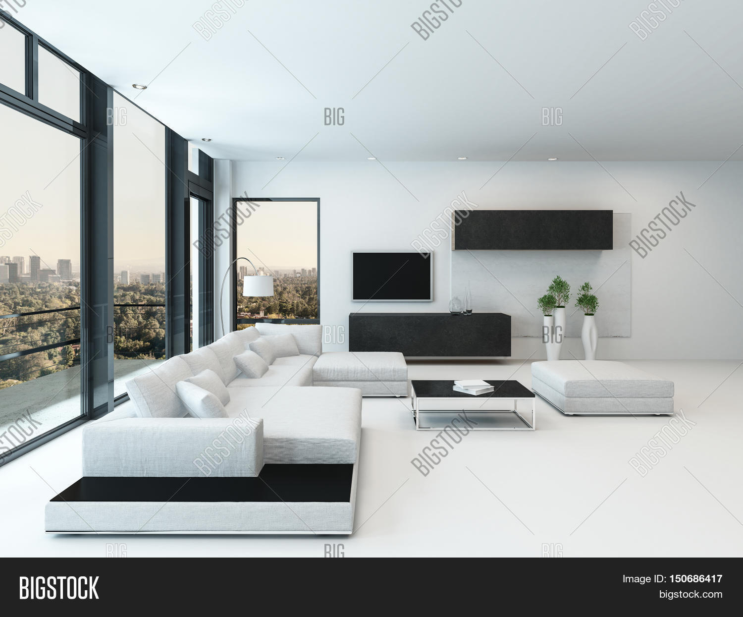 Luxury white living rooms - Contemporary Luxury Living Room Interior With Black And White Decor A Modular Lounge Suite And