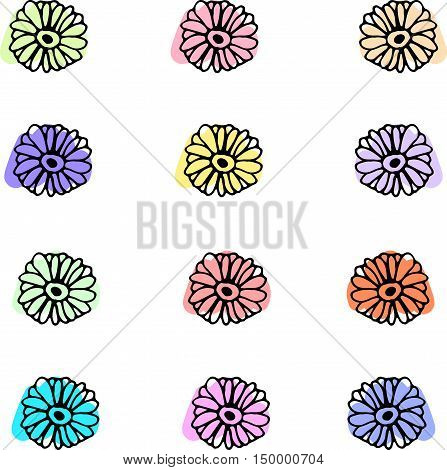 vector twelve simple flowers with colorful background