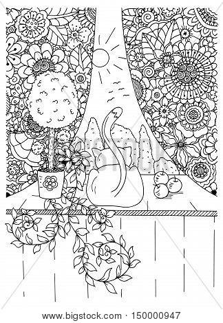 Vector illustration zentangl cat and curtains. Flower frame. Doodle drawing. Meditative exercises. Coloring book anti stress for adults. Black and white.