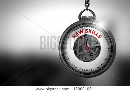 New Skills Close Up of Red Text on the Pocket Watch Face. Pocket Watch with New Skills Text on the Face. 3D Rendering.