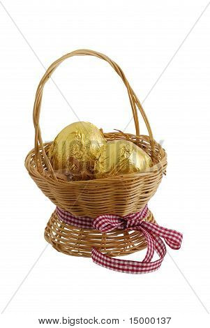 Two Golden Eggs In Straw Basket