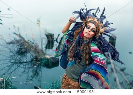 Native American Girl In National Clothes Dancing