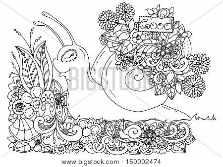 Vector illustration zentangl , snail with a pointer in a flower frame. Doodle drawing. Meditative exercises. Coloring book anti stress for adults. Black and white.