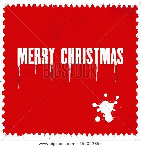 Merry Christmas grunge background with typography. Distressed holiday texture. Vintage giftcard.
