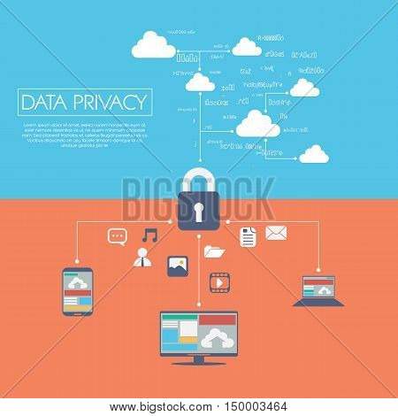 Data privacy in cloud computing technology with digital devices icons and applications for computers. Eps10 vector illustration.