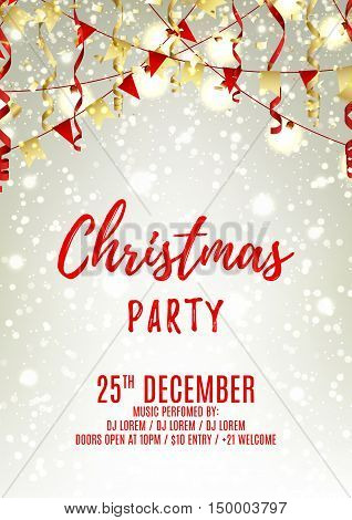 Christmas party flyer template. Elegant vector illustration with red and gold serpentine. Beautiful background with confetti and garlands. Design of invitation to night club.