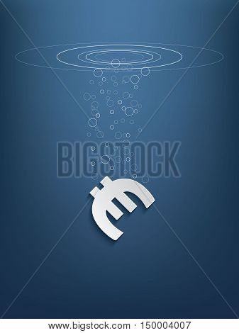 Euro sign sinking and in decline as a symbol of european recession. Eps10 vector illustration