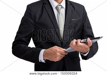 Yong businessman holding digital tablet computer showing screen display isolate on white background