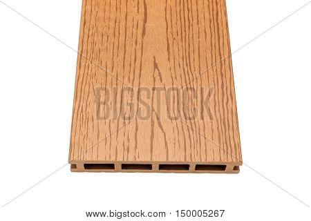 Composite decking board with wood grains isolated on white background