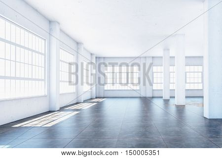 The interior of a large room with columns. 3d illustration