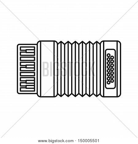 Accordion icon in outline style isolated on white background. Musical instrument symbol vector illustration