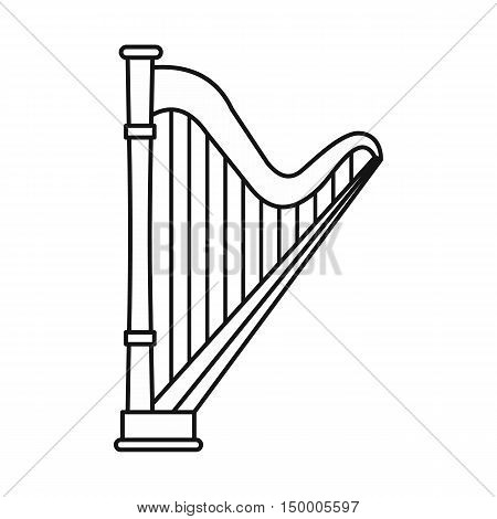 Harp icon in outline style isolated on white background. Musical instrument symbol vector illustration