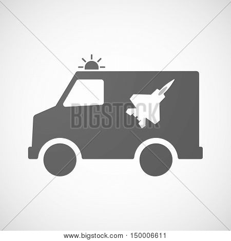 Isolated Ambulance Icon With A Combat Plane