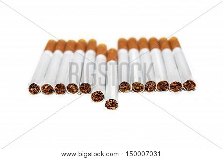 Cigarettes with filter isolated on white background