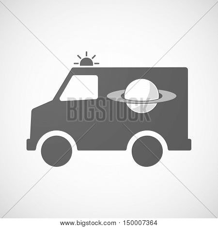 Isolated Ambulance Icon With The Planet Saturn