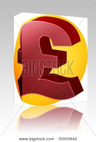 Software package box United Kingodm Pound Sterling Currency symbol isometric illustration