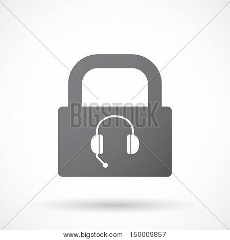 Isolated Lock Pad Icon With  A Hands Free Phone Device