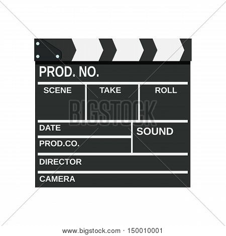 Black closed clapperboard. Movie clapper board. vector illustration in flat style