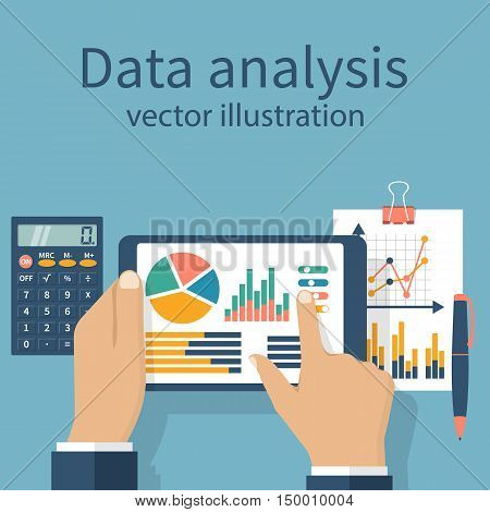Tablet in hands businessman statistical datawith charts and diagrams. Workplace documents for financial analysis statistics reporting strategy development. Vector flat design.