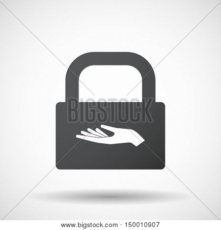 Isolated Lock Pad Icon With A Hand Offering