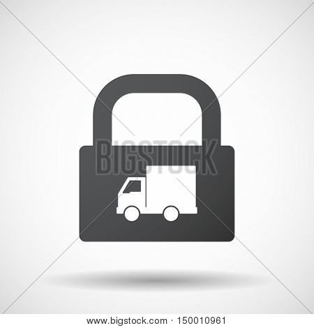 Isolated Lock Pad Icon With A  Delivery Truck