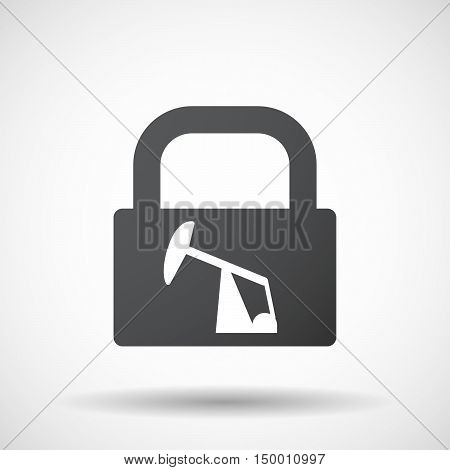 Isolated Lock Pad Icon With A Horsehead Pump
