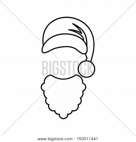 Hat and curly beard of Santa Claus icon in outline style isolated on white background. New year symbol vector illustration