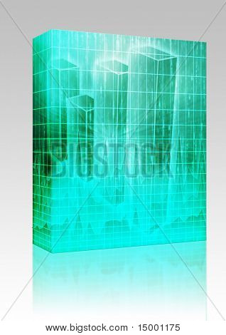 Software package box Illustration of Spreadsheet data and business charts in glowing wireframe style