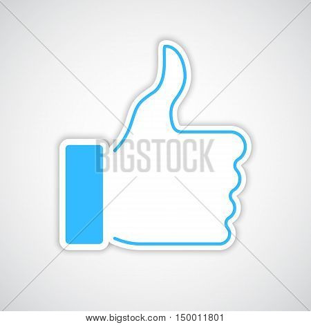 Thumb up flat icon with soft shadow and blue outline