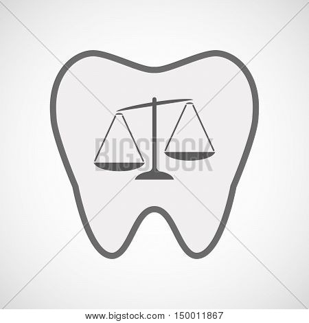 Isolated Line Art Tooth Icon With  An Unbalanced Weight Scale
