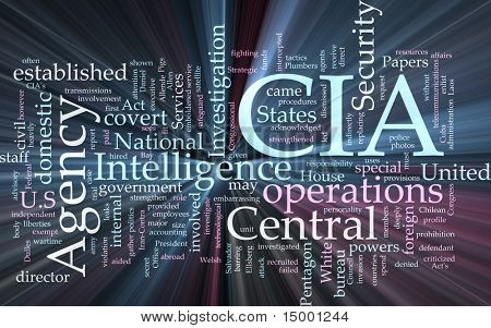 Word Cloud Konzept Abbildung CIA Central Intelligence Agency glühend Lichteffekt