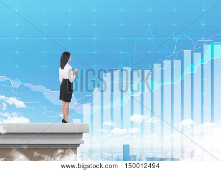 Side view of girl with coffee looking at transparent graphs in the sky. Concept of the future is now. Double exposure