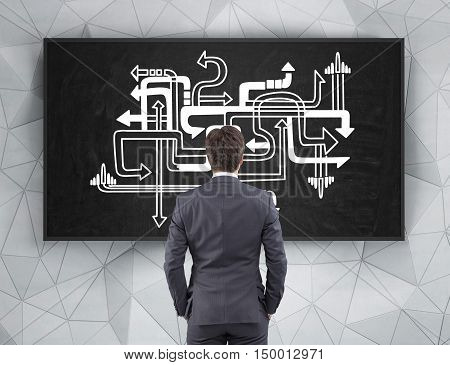 Young businessman choosing his way in life standing near arrow pipeline sketch on chalkboard. Concept of tough decision