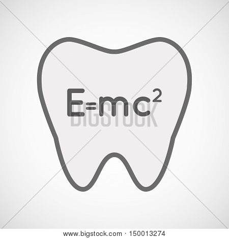 Isolated Line Art Tooth Icon With The Theory Of Relativity Formula