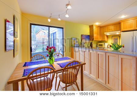 Yellow Happy Dining Table And Apartment Kitchen