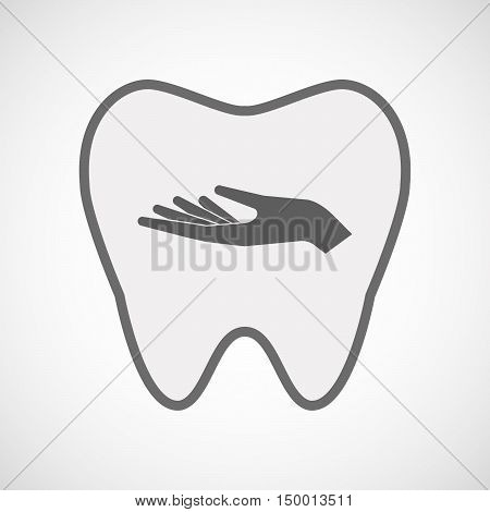 Isolated Line Art Tooth Icon With A Hand Offering