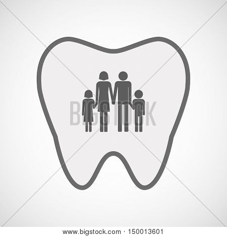 Isolated Line Art Tooth Icon With A Conventional Family Pictogram