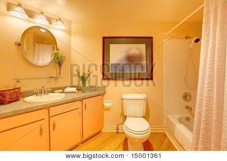 Yellow  Cozy Bathroom With Orange Cream Colors