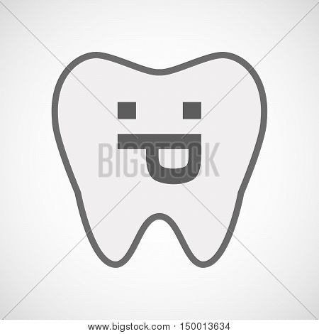 Isolated Line Art Tooth Icon With A Sticking Out Tongue Text Face